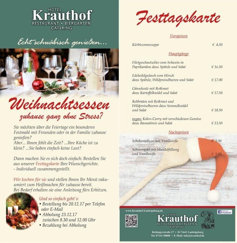 Weihnachtsessen 1 Weihnachtsfeiertag.Flyer Weihnachtsessen Final 1 Hotel Und Restaurant Krauthof